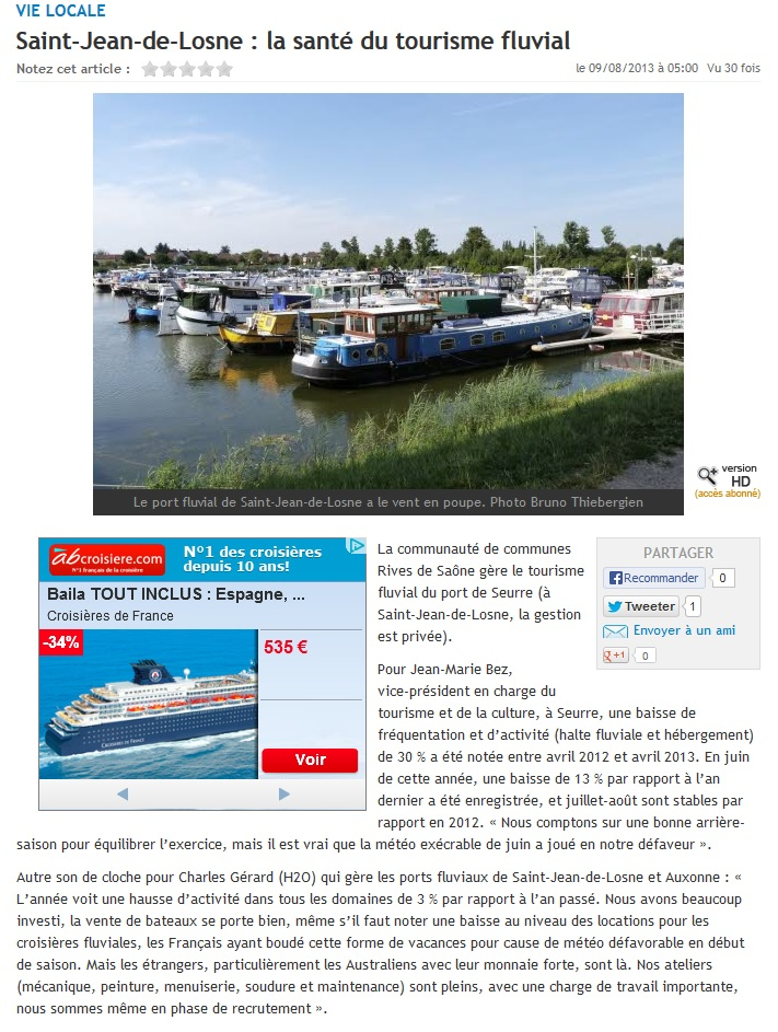 H2O Fluvial h20 boats in the media: tf1, fr3, le bien public